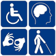 Graphic of 4 disability icons - click to visit Accessibility Page